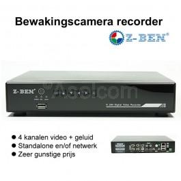 Goedkope bewakingscamera recorder voor 4 camera's