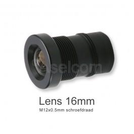 Mini bewakingscamera objectief 16mm met M12x0.5mm schroefdraad