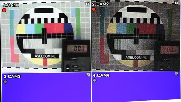 Zie de verschillen twee cameras en gelijke hoeveelheid licht