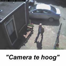 Een te hoog opgehangen beveiliging camera