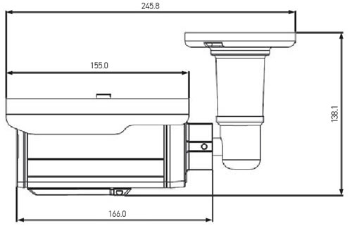 Afmetingen X-GEN P90T HD-TVI bewakingscamera