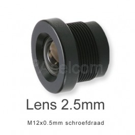 Mini bewakingscamera objectief 2.5mm met M12x0.5mm schroefdraad