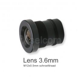 Mini bewakingscamera objectief 3.6mm met M12x0.5mm schroefdraad