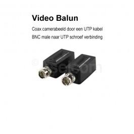 Bewakingscamera video balun van coax naar UTP kabel