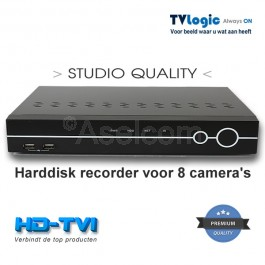 TVLogic HD-TVI recorder voor 8 TVI camera's