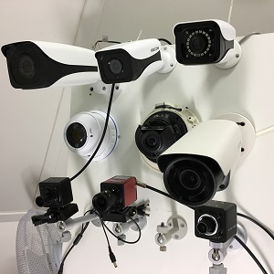 Teststand voor het meten aan de bewakingscamera